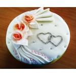 СВ 008 Торт свадебный с сердечками и розами