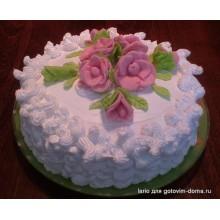 ПР 217 Белый торт с цветами