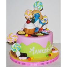 Торт смурфики (3724)