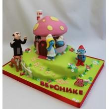 Торт смурфики (3726)