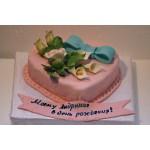 РМ 276 торт в форме сердца розовый с цветами
